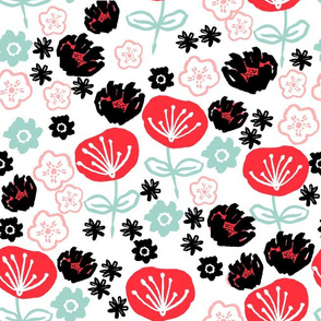 florals // pink red mint hand-drawn vintage flowers design for textiles fashion prints and repeating illustration pattern
