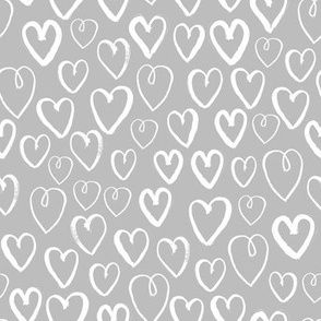 heart // grey and white hand-drawn hearts on grey for textiles and home decor