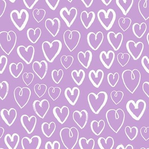 hearts // pastel lilac lavender purple hand-drawn hearts for girly valentines love illustration pattern print