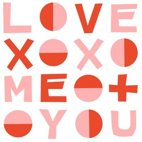 love typography // red and pink valentines heart love
