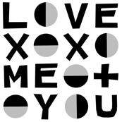love typography // black and white minimal love xoxo heart valentines day