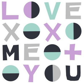 love typography // mint lilac valentines grey love hearts valentines