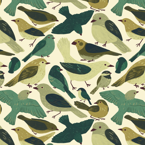 Birds fabric by alyssa_scott on Spoonflower - custom fabric