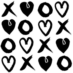 xoxo hearts // valentines love heart black and white gender neutral scandi repeating pattern print
