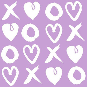 xoxo hearts // lilac pastel purple xoxo hearts love valentines repeating illustration print