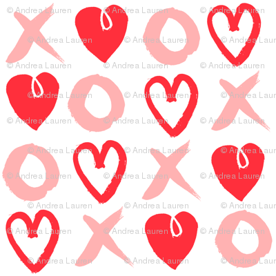 XOXO hearts // red and pink larger scale valentines love heart print