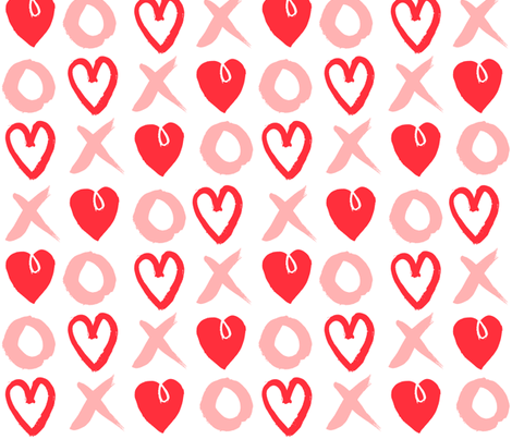 xoxo hearts red and pink larger scale valentines love heart print fabric by andrea_lauren