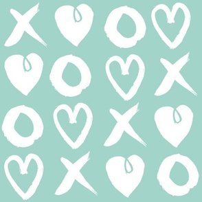 xoxo hearts // mint hand-drawn illustration love valentines heart