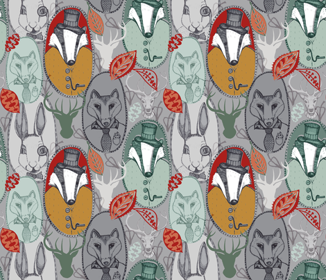 Forest Family Frames fabric by slumbermonkey on Spoonflower - custom fabric