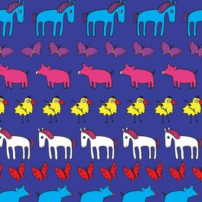 Striped Pigs and Ponies - Blue & pink