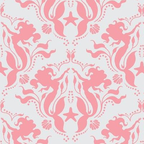 Mermaid Damask - pink/Light grey