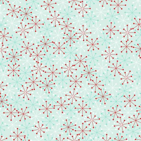 Atomic Snowflakes Medium- Mint fabric by halloweenhomemaker on Spoonflower - custom fabric
