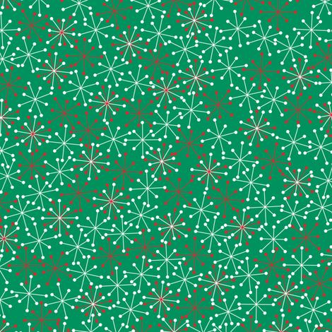 Atomic Snowflakes Medium- Green fabric by halloweenhomemaker on Spoonflower - custom fabric