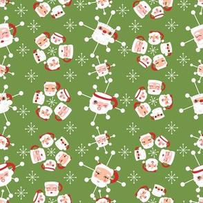 Atomic Santa Mugs Medium- Olive Green
