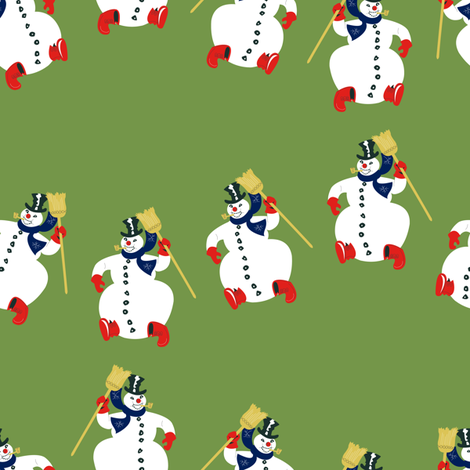 Frosty Parade Lg Scale- Olive fabric by halloweenhomemaker on Spoonflower - custom fabric