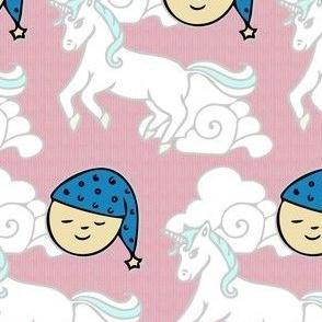 Sleepy Moons and Dancing Unicorns on Pink