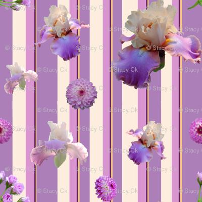 StacyCK Studio - Shades of Purple Flowers on Stripe