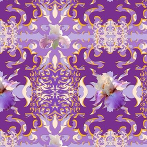 Purple Iris Damask