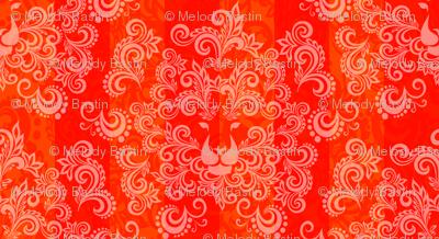 Orange Red Damask Lion