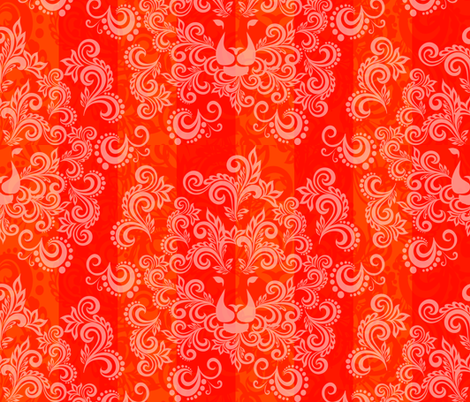 Orange Red Damask Lion fabric by madmelody on Spoonflower - custom fabric