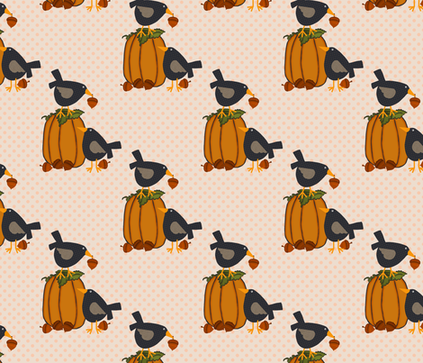 Prim Crows and Pumpkins fabric by cherie on Spoonflower - custom fabric