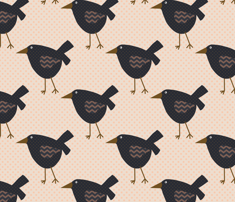 Primitive Crows and Polka Dots fabric by cherie on Spoonflower - custom fabric