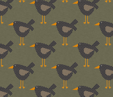 Dotted Prim Crows on Brown fabric by cherie on Spoonflower - custom fabric