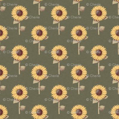 Golden Sunflowers Prim Style