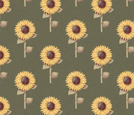 Golden Sunflowers Prim Style fabric by cherie on Spoonflower - custom fabric