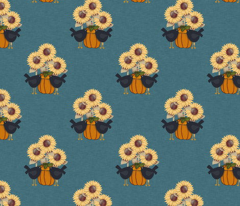 Pumpkins, Crows and Sunflowers fabric by cherie on Spoonflower - custom fabric