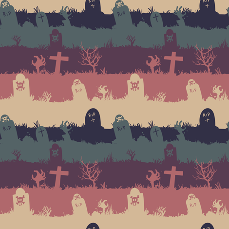 zombie graveyard - colorway 02 fabric by aliceelettrica on Spoonflower - custom fabric