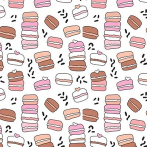 Sweet candy time macarons hand drawn illustration cooky pattern
