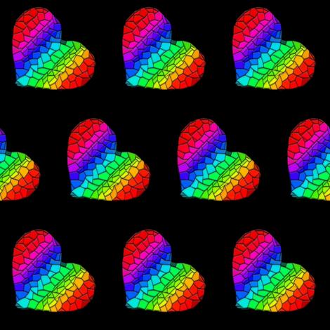 Rainbow Mosaic Hearts (tilt) fabric by mmarie-designs on Spoonflower - custom fabric