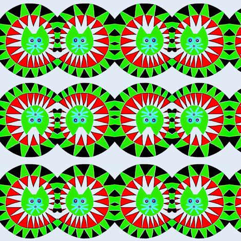 Tumbling Kittens Black Green Red fabric by eve_catt_art on Spoonflower - custom fabric