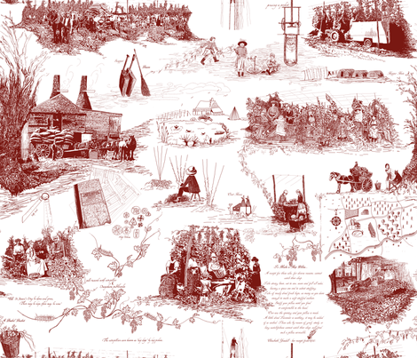 Red Toile on white BG fabric by a_bushel_of_hops on Spoonflower - custom fabric