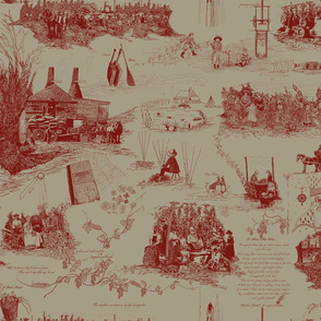 Red Toile on a Linen BG
