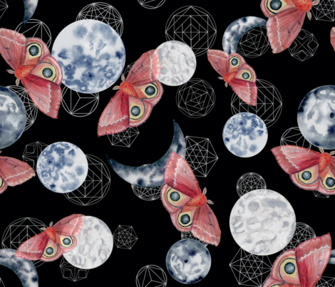 Moon Moth Indigo  fabric by six_little_spoons on Spoonflower - custom fabric