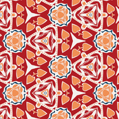 Abstract in Red, Orange and White