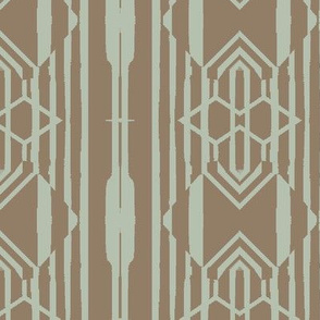 Modern Tribal Vertical Stripe in Brown and Blue
