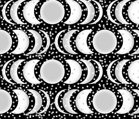 Eclipsed_Moon_and_Stars_3D fabric by house_of_heasman on Spoonflower - custom fabric