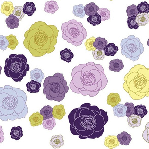 roses in purple, lavender and lime