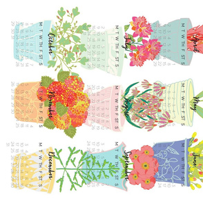 2018 tea towel vintage flower pots