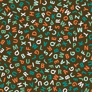 ditsy teal and coral alphabet on bronze