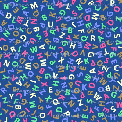 ditsy alphabet on blue