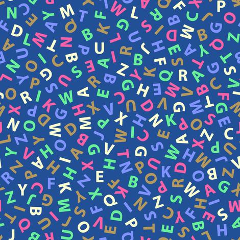 ditsy alphabet on blue fabric by weavingmajor on Spoonflower - custom fabric