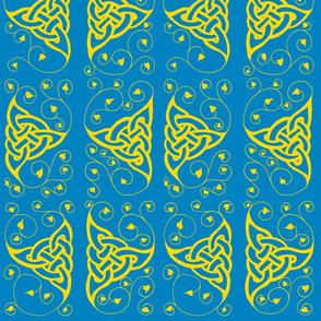 triknot leafy border 1 blue & gold