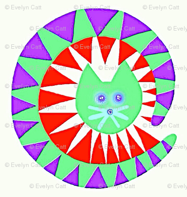 Carnival Cats Purple Mint Green Red
