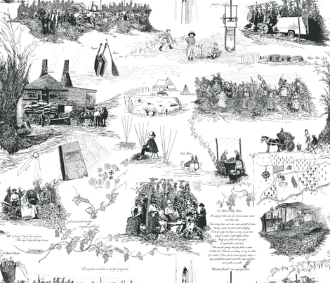 Charcoal Toile on a white BG fabric by a_bushel_of_hops on Spoonflower - custom fabric