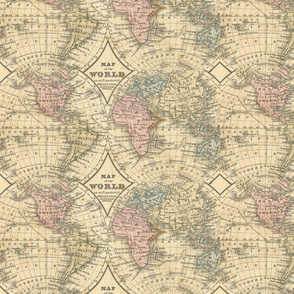 Vintage map fabric wallpaper gift wrap spoonflower old world map gumiabroncs Gallery