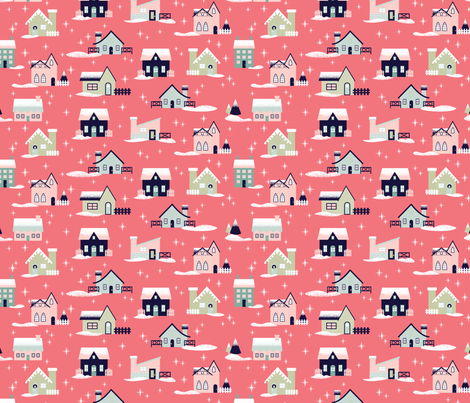 Pink Christmas Houses fabric by mintgreensewingmachine on Spoonflower - custom fabric